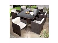 Brand New Monaco 7-Piece Rattan Cube Dining Set Natural Cream Garden Table and Chairs Set