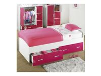 Brand New Childrens Kids Carleton 2 Storage Drawers High Gloss Single Bed - Pink/White