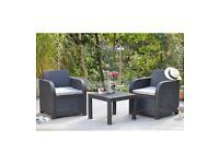 Carolina 3 Piece Rattan with Cushions All Weather Garden Patio Balcony Set - Black/Grey