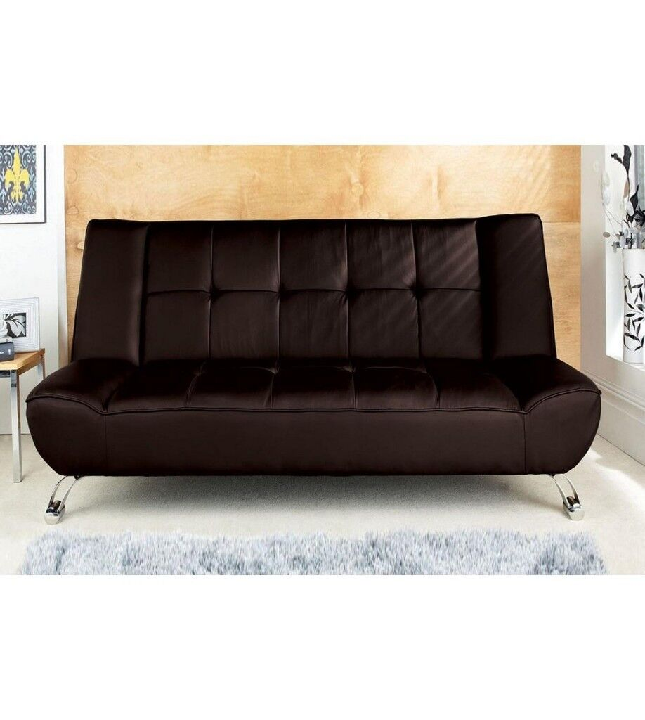 Brand New Genoa Faux Leather Sofa Couch Living Room Bed Complete Sleep Solution Chrome Legs Brown