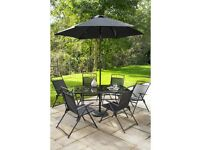 Brand New Kent 8 Piece Garden Outdoor Dining Patio Armchair Table with Parasol Set - Black