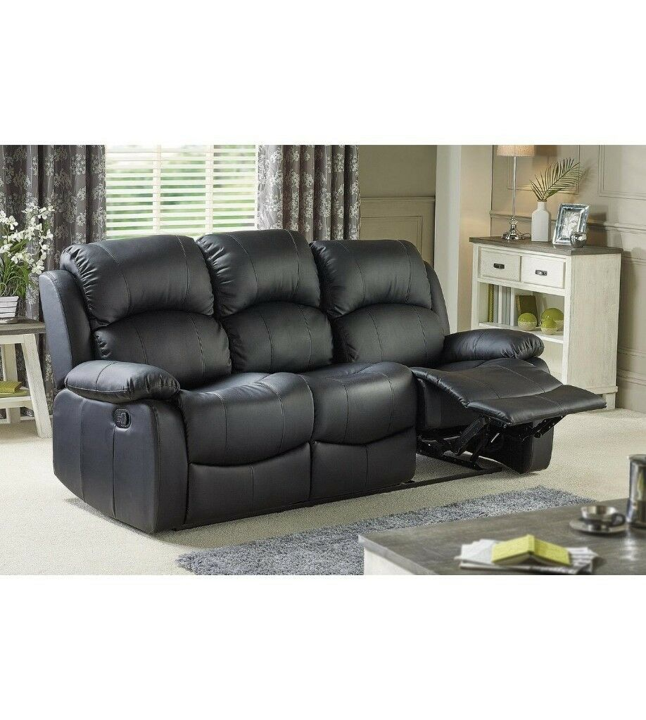 Brand New 3 Seater Faux Leather Home Cinema Sofa Tv Armchair