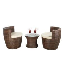 Brand New 3 Piece Rattan Effect Hideaway Vase Garden Outdoor Set Brown/Cream