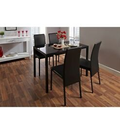 Brand New Madrid Modern Kitchen 5 Piece Dining Table 4 Chairs Set - Black