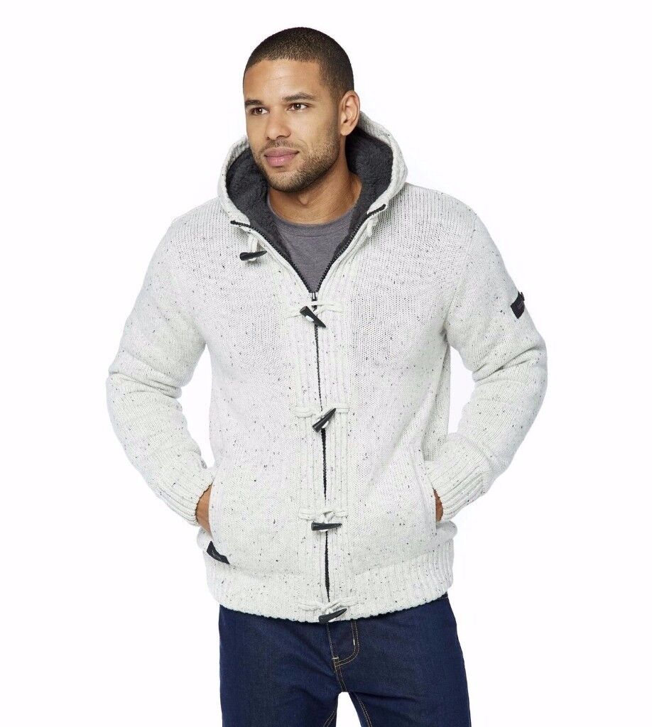 Dissident Sherpa Lined Knit/Hoodie in Oatmeal Grey - Large size *BRAND NEW IN PACKAGING* RUNCORN