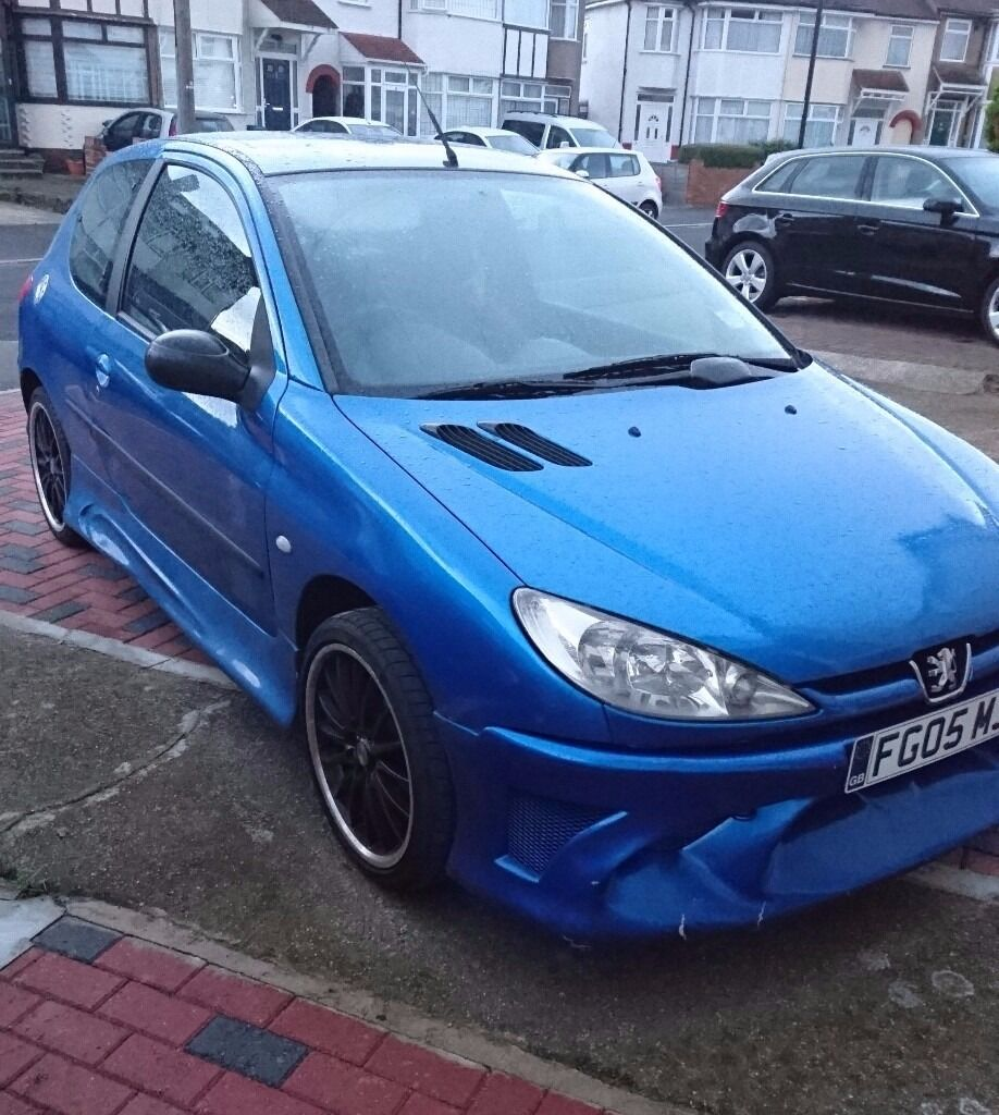 peugeot 206 zest 2 2005 blue sports modified exhaust side skirts low mileage black. Black Bedroom Furniture Sets. Home Design Ideas