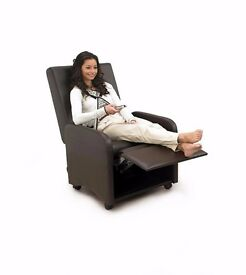 Brand New Faux Leather Folding Recliner Chair CONVERTS INTO STOOL