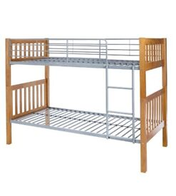 Brand New Oak Effect High Sleeper Metal Bunk Bed with Guard Rail and Ladder