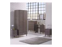 HIGH QUALITY 4 Piece 2 Door Wardrobe 5Drawer Chest and 2 Bedside Tables Bedroom Set