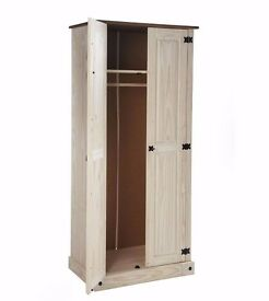 Brand New 2 Door Mexican Solid Pine Two Tone Wardrobe