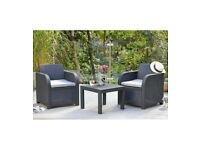 Carolina 3 Piece Black Rattan Grey Cushions Outdoor Garden Patio Balcony Set