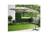 Brand New Garden Cantilever Hanging Umbrella with Crank Mechanism for Outdoor Garden Patio - Cream