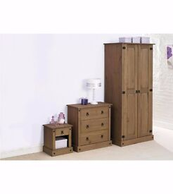 BRAND NEW Solid Pine 2-Piece Bedroom Wardrobe and Bedside in Dark Wood