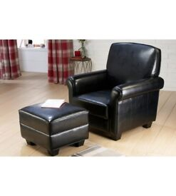 Brand New Classic Rolled High Quality Single Seater Arm Chair with Foostool Black Leather