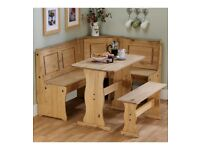 Brand New 6 People Wooden Corner Bench Kitchen Solid Pine Dining Set - Pine
