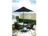 Brand New 6 Piece Kent Chair Glass Topped Table and Parasol Garden Outdoor Patio Set - Black
