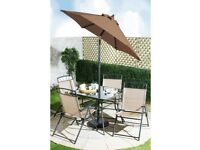 Brand New Kent 6 Piece Garden Outdoor Patio Furniture Armchair Glass Table Parasol Set - Copper