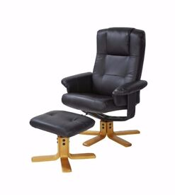Brand new New Black or Brown Faux Leather Recliner Chair with stool High quality
