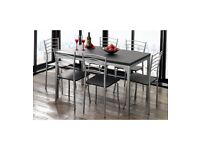 Brand New 7 Piece Metal Framed Table 6 High Quality Chairs Home Kitchen Dining Set - Black