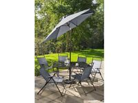 Brand New 8 Piece Dining Table 6 Chairs with Parasol Garden Outdoor Patio SET - Grey