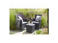 New Other 3 Piece Rattan Effect Keter Iowa Garden Patio Balcony Set