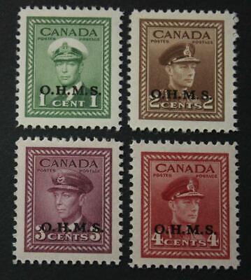 Canada #O1-O4, MNH OG, Set Of 4 OHMS Overstamped Officials