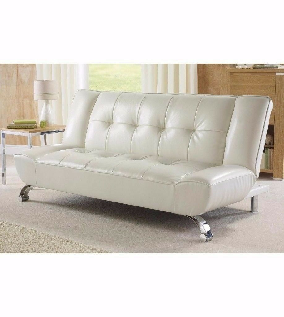 brand new stylish high quality riviera 100 white faux leather sofa bed with chrome legs in. Black Bedroom Furniture Sets. Home Design Ideas