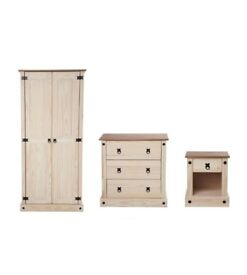 Mexican Solid Pine 3 Drawer Chest 2 Door Wardrobe and Bedside Table 3-Piece Bedroom Set - Two Tone