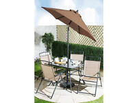 Brand New Kent 6 Piece Outdoor Patio Garden Furniture Armchair Table and Parasol Set - Copper