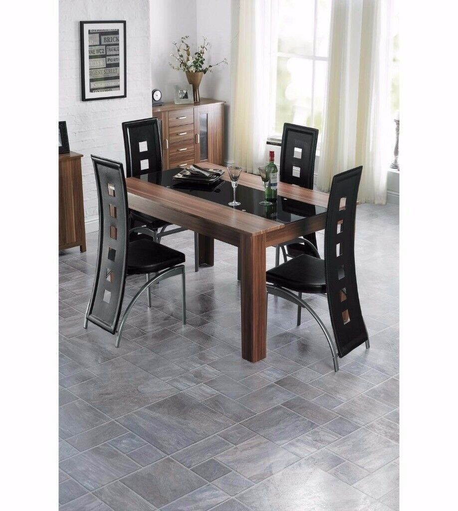 Brand new 5 piece dining set Large table 4 chairs Leather Oak/Walnut 4 black chairs