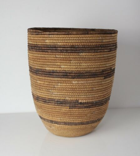 Native American Southwest Pima/Papago Tall Coiled Basket, Early 20th Century