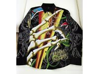 5 brand new Christian Audigier designer mens shirts. Rare and unique. Cotton / silk material
