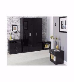 Carleton 4 Piece High Gloss Home Furniture Wardrobe Bedroom Set - Black