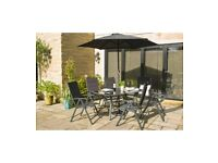 Brisbane 6 Piece 4 Seater Reclining Chair Glass Topped Table and Parasol Dining Set - Grey