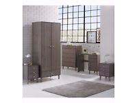 NEW Classic 4 PC 4 Piece 2Door Wardrobe 5 Drawer Chest and 2 Bedside Tables Bedroom Set