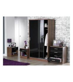 Brand New 4-Piece Black/Walnut Wardrobe 4 Drawer Chest 2X Bedside Tables with Drawer Set