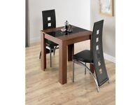Brand New Hudson 3-Piece Modern Kitchen 2 Black Faux Chairs & Table Luxury Dining Set - Walnut/Black