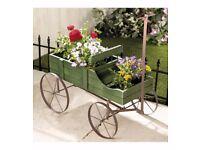 Wooden wagon plant holder