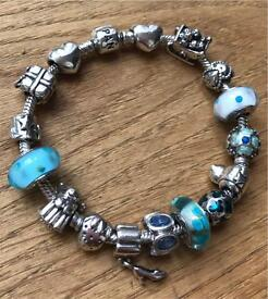 Pandora Bracelet with 16 Genuine Charms Sterling Silver