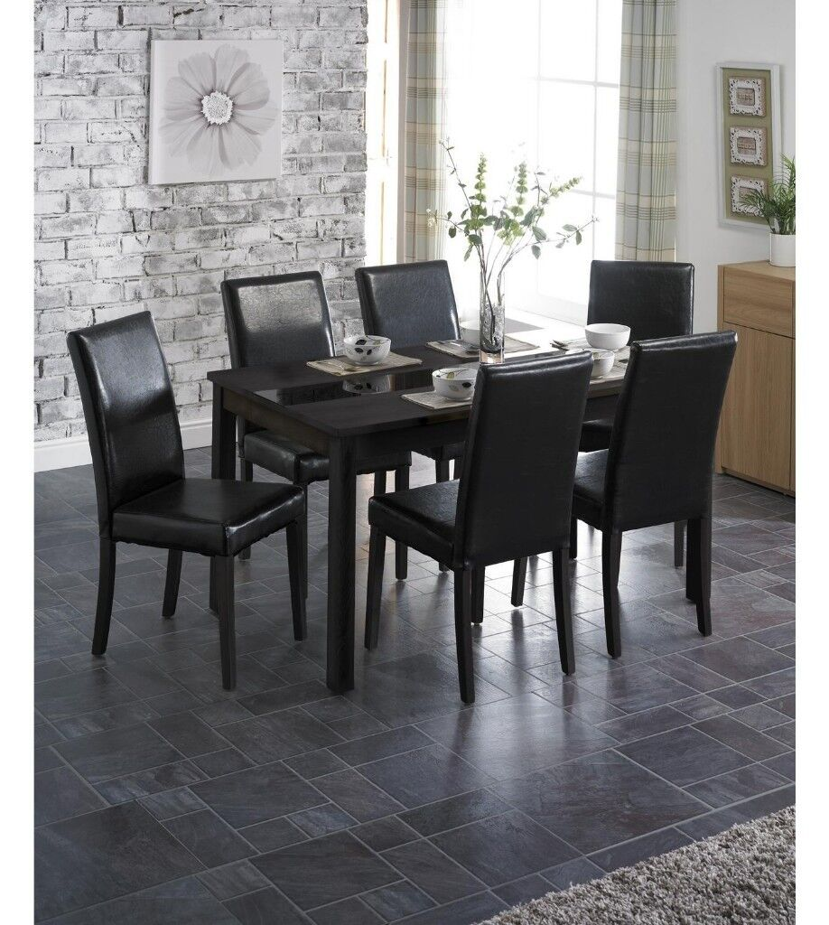Modern Retro 5 Piece Dinette Set With Faux Leather Black