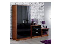 Brand New Carleton 3 Piece High Gloss Bedroom 2 Door Wardrobe Chest Drawers Table Set - Black/Walnut
