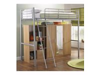New Storage High Sleeper single Bed Wardrobe mirrored mirror Grey/Oak effect
