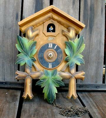 Vintage German Small Carved Wood Cuckoo Clock For Parts or Repair Replacement