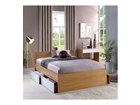 Brand New Carleton High Gloss Storage 4FT6 King Size Bed Headboard 79cm - White/Oak