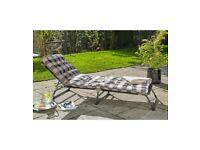 Brand New Edinburgh Padded Recliner Sun Lounger Chairs Outdoor Garden - Cream