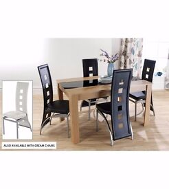 Brand New 5 PC Dining Table 4 Chairs Set Oak Walnut With Black Cream