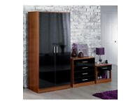 Brand New Carleton 3 Piece High Gloss Bedroom 2 Door Wardrobe Chest Drawers Table Set - Black/Walnut