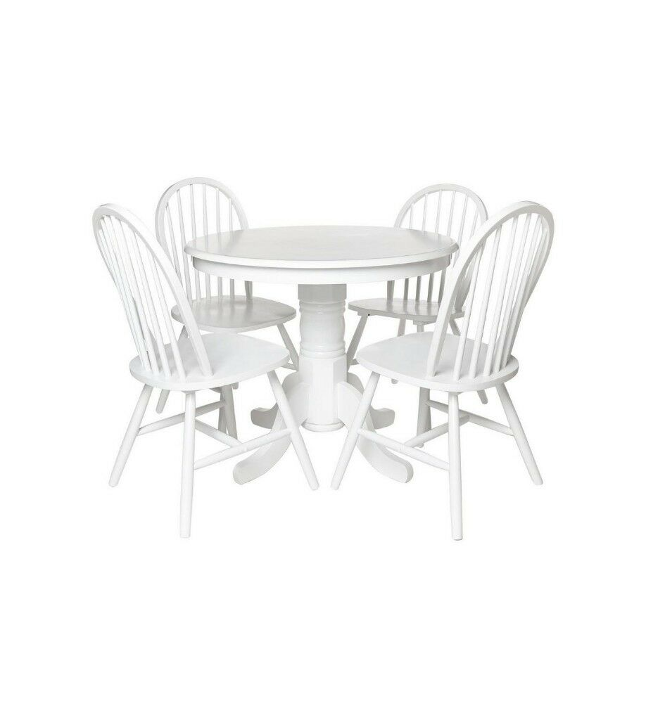 Super Brand New Windsor Contemporary Style 5 Piece 4 Chair Rounded Table Wooden Dining Set White In Manchester Gumtree Unemploymentrelief Wooden Chair Designs For Living Room Unemploymentrelieforg