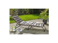 Brand New Edinburgh Sun Lounger Padded Recliner Chairs Outdoor Garden - Cream