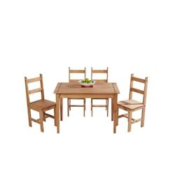 Brand New 5 Piece Rusting Style Solid Pine Wooden Dining Set Dining Room Furniture - Light Pine